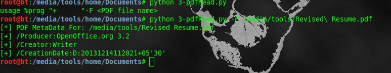 Extract metadata from pdf file using Python script