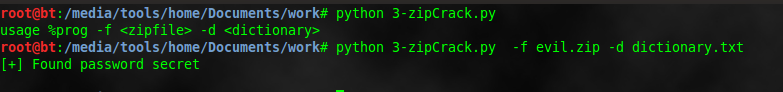 how to crack password of zip files using python